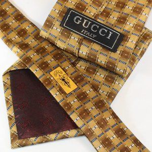 Gucci Silk Tie Gold & Blue Geometric